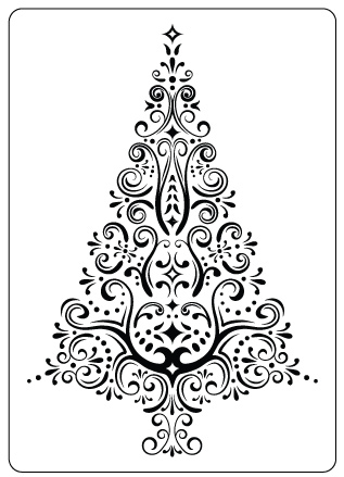 Lovely CTFD 4014 ~ SWIRL CHRISTMAS TREE ~ Embossing Folder From Crafts Too