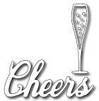 FRA-DIE-09326 ~ CHAMPAGNE GLASS and CHEERS ~ two dies from FRANTIC STAMPER