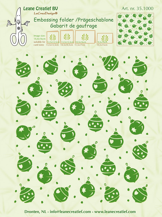 35.1000 ~ CHRISTMAS ORNAMENTS BACKGROUND ~Embossing folder ~ Leane Creatief BV