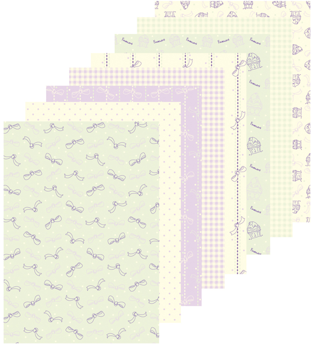 51.8817  ~ RIBBONS and CUPCAKES ~ A5 Design Paper Assortment 16 sheets