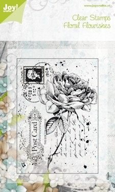 6410/0044 ~ OLD LETTER ROSE #2 ~ FLORAL FLOURISH ~ JOYCRAFTS CLEAR STAMP