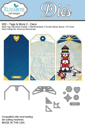 952 ~ TAGS AND MORE - DECO~ Dies by Elizabeth Craft Designs