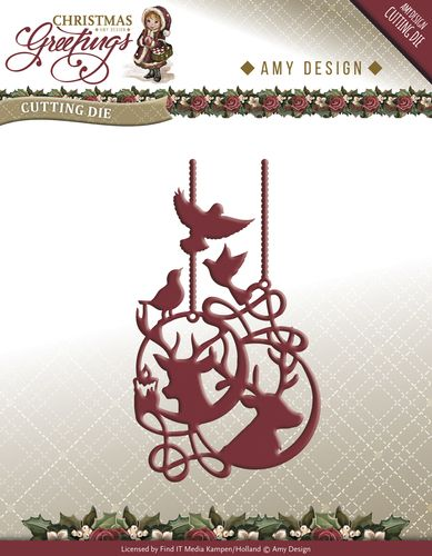 ADD10069 ~ Christmas Greetings ~ Reindeer Ornament die ~ Amy Designs