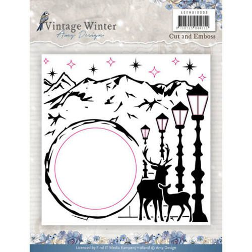 ADEMB10008 ~ Cut and Emboss Folder ~ Vintage Winter  ~ Amy Design