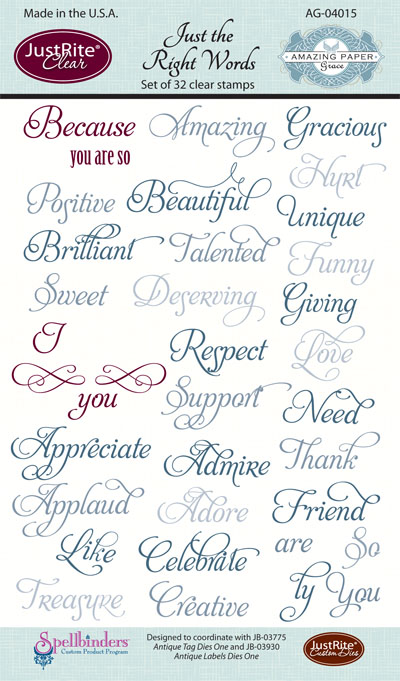 AG-04015 ~ JUST THE RIGHT WORDS ~ JustRite cling stamp set