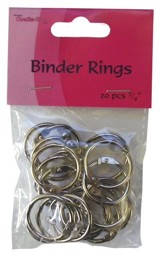 "BOOK BINDER RINGS 3/4"" 20 per pack, by Crafts Too"