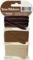 BROWN - We R Memory Keepers Sew Ribbon set of 3 Ribbons