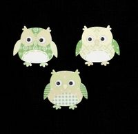C2294 ~ GREEN OWLS ~ TRIMITS ~ pack of 6
