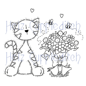 CARAC0609 ~ COCO THE CAT, WITH FLOWERS ~ Helz Cuppleditch clear stamps