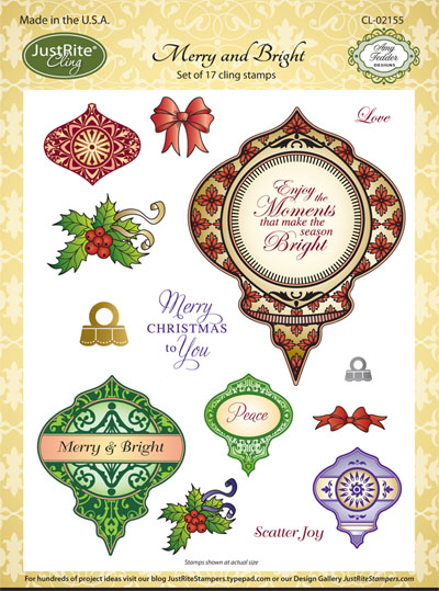 CL-02155 ~ Merry and Bright ~ JustRite cling stamp set