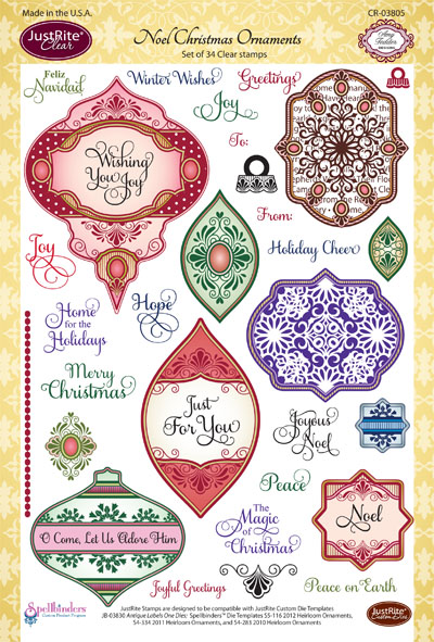 CL-03805 ~ NOEL CHRISTMAS ORNAMENTS ~ JustRite cling stamp set
