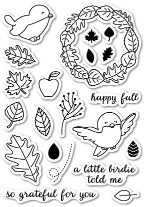 CL5158 ~   AUTUMN BIRDIE ~  Open Studio Clear Stamps
