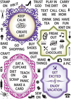 CR-02255 ~ JUST KEEP CALM ~ set 64 JUSTRITE CLEAR STAMPS