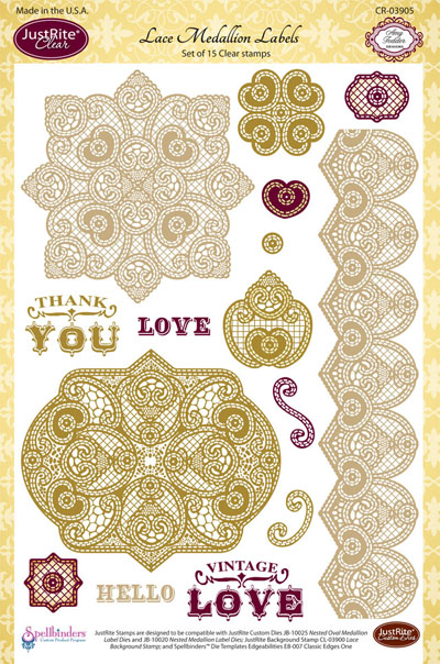 CR-03905 ~ LACE MEDALLIONS ~ JustRite cling stamp set