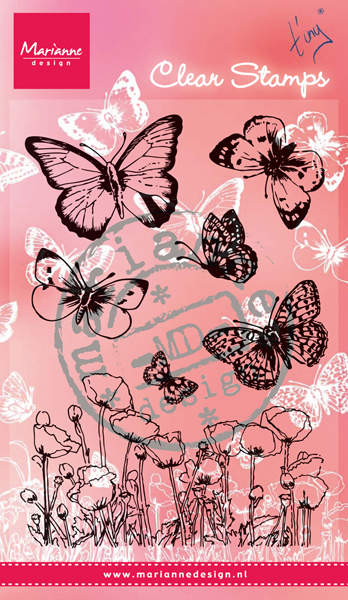CS0927 ~ BUTTERFLIES & POPPIES  ~  Marianne Designs Clear stamp