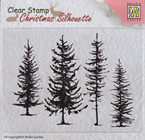 CSIL004 ~ Pine Trees ~ Christmas Silhouette Nellie Snellen Clear Stamps