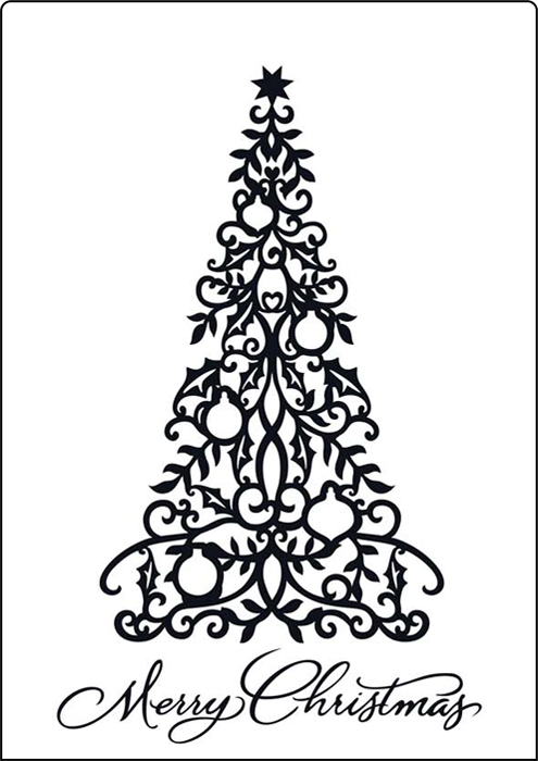 CTA413 ~ MERRY TREE ~ A4 embossing folder by Crafts Too