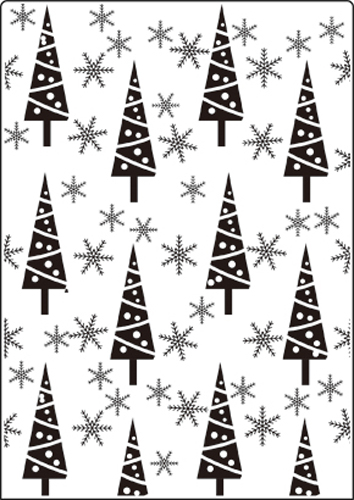 CTA415 ~ TREES AND SNOW FLAKES  ~ A4 embossing folder by Crafts Too