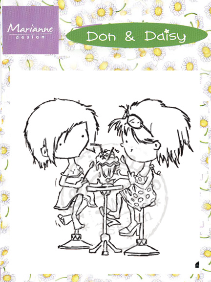 DDS3321 ~ SHARING AN ICE CREAM SODA ~ Don & Daisy ~  Marianne Designs Clear stamp