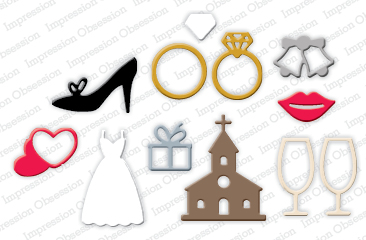 DIE245 L ~ WEDDING ICONS DIE SET ~ Impression Obsession dies