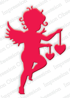 DIE254 M ~ CUPID WITH HEARTS DIE SET ~ Impression Obsession dies