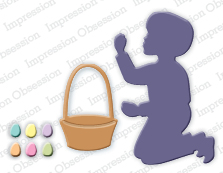 DIE261 M ~ BOY WITH EASTER BASKET DIE SET ~ Impression Obsession dies
