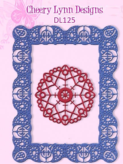 DL125 ~ CELTIC FIRE RECTANGLE FRAME ~ Cheery Lynn Doily die