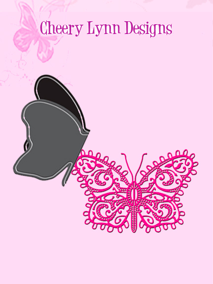 DL156 ~ Small Lace Butterfly w. Angel wing die - Cheery Lynn