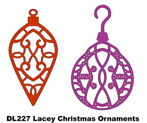 DL227~ LACEY CHRISTMAS ORNAMENTS (Set of 2) ~ CHEERY LYNN DIE