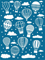 E169 ~ HOT AIR BALLOONS and CLOUDS  ~ CHEERY LYNN metal EMBOSSING PLATE