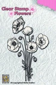 FLO014 ~ Poppies ~ Flowers  Nellie Snellen Clear Stamps