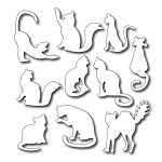 FRA-DIE-09100 ~ TEN FUN FELINES ~ set 10 dies from FRANTIC STAMPER