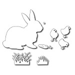 FRA-DIE-09129 ~ EASTER BUNNY & CHICKS ~ set 8 dies from FRANTIC STAMPER