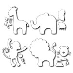 FRA-DIE-09204 ~ BABY ANIMALS ~ set of 4 dies & accessories ~ from FRANTIC STAMPER