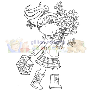 GR 026 ~ FLOWER GIRL ~ Stampavie GILLIAN ROBERTS Clear Stamp