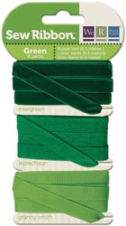 GREEN - We R Memory Keepers Sew Ribbon set of 3 Ribbons