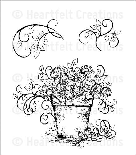 HCPC 3503 ~  VINTAGE FLORET BOUQUET ~ Heartfelt Creations pre cut stamps