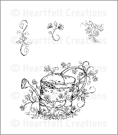 HCPC 3518 ~ VINTAGE WATERING CAN ~ Heartfelt Creations pre cut stamps
