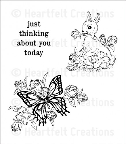 HCPC 3524 ~ BUTTERFLY and BUNNY ~ Heartfelt Creations pre cut stamps