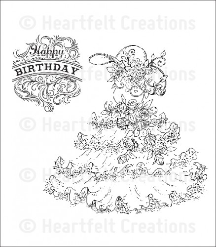 HCPC 3583 ~ ADORNED WITH ROSES PreCut Set ~ Raindrops on Roses Collection ~  Heartfelt Creations stamps