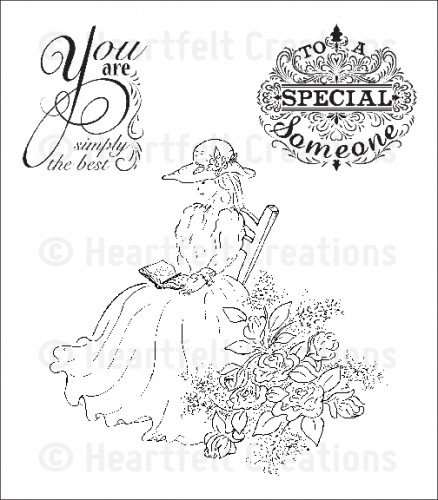 HCPC 3584 ~ LADY ROSALIE PreCut Set ~ Raindrops on Roses Collection ~  Heartfelt Creations stamps