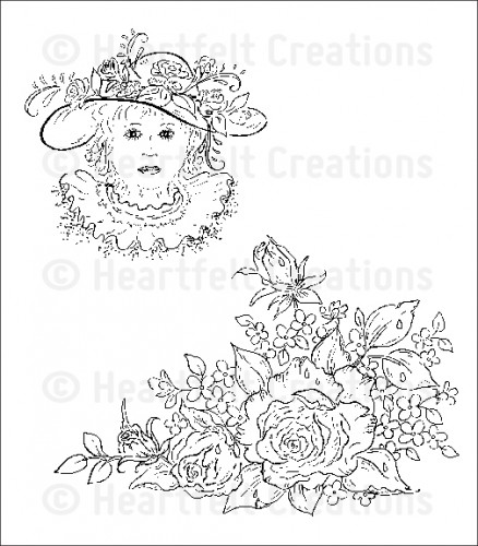 HCPC 3585 ~ RAINDROPS ON ROSETTES PreCut Set ~ Raindrops on Roses Collection ~  Heartfelt Creations stamps