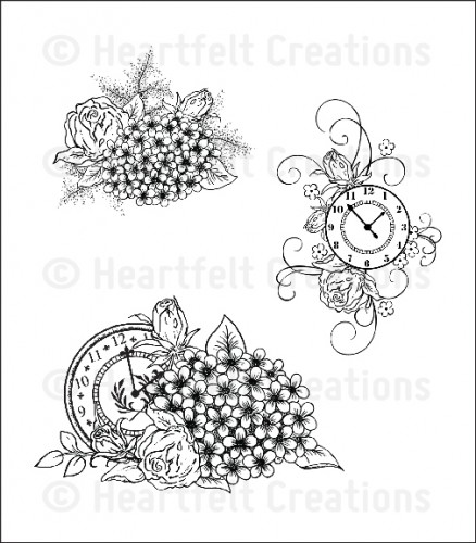 HCPC 3595 ~ FLORAL CLOCKS PreCut Set ~ Once Upon a Time Collection ~  Heartfelt Creations