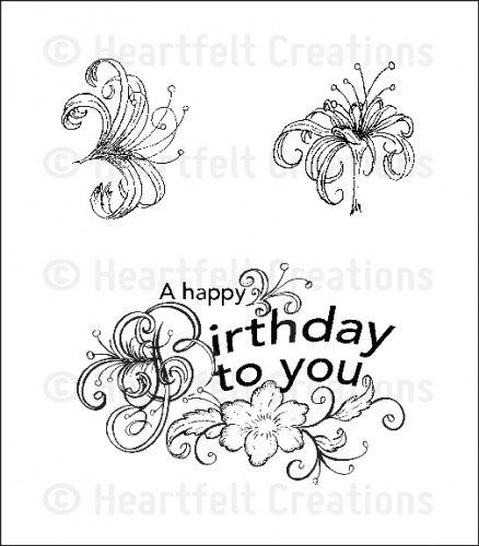 HCPC 3612 ~ ARIANNA BIRTHDAY PreCut Set ~ Arianna Blooms Collection ~  Heartfelt Creations