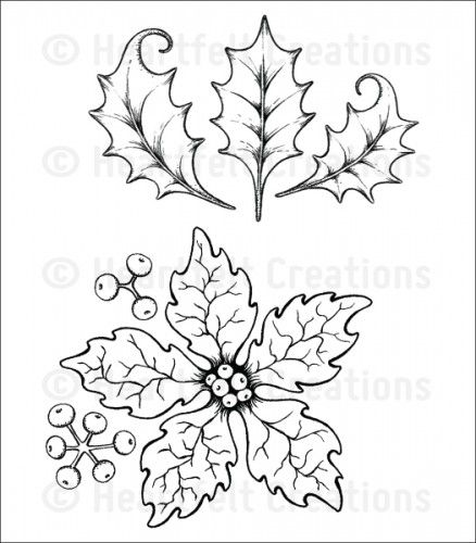 HCPC 3679 ~ LARGE SPARKLING POINSETTA   Cling stamps ~ Heartfelt Creations