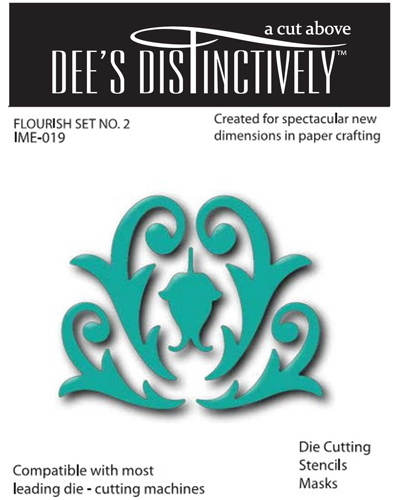 IME019 ~ FLOURISHES (SET 2) ~ set of five dies ~ Dee's Distinctively Dies