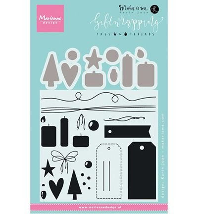 KJ1716 ~ Tags & Threads ~ By Karin Joan ~ Marianne Design Stamp and Die Set
