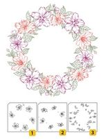 LCS002 ~ Flower Wreath 2 ~ Layered Nellie Snellen Clear Stamps 3 pc