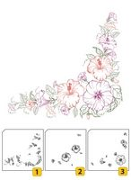 LCS004 ~ Flower Corner 1 ~ Layered Nellie Snellen Clear Stamps 3 pc