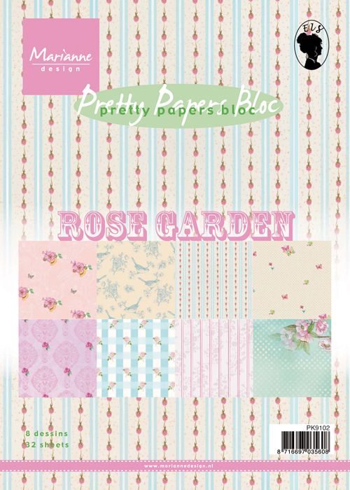 PK 9102 ~ ROSE GARDEN ~ Pretty Papers Bloc ~ Marianne Designs